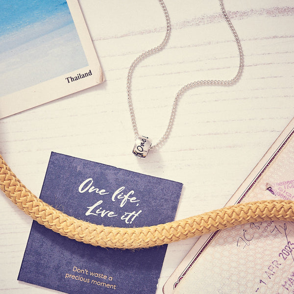 One Life, Live It! Solid Silver Adventurer and Traveller Necklace