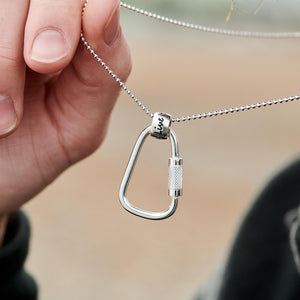 Climbing Carabiner One Life, Live it Silver Necklace - mens gift for adventurers