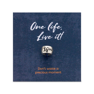 One Life Live It Silver Bead Charm fits Pandora style bracelet