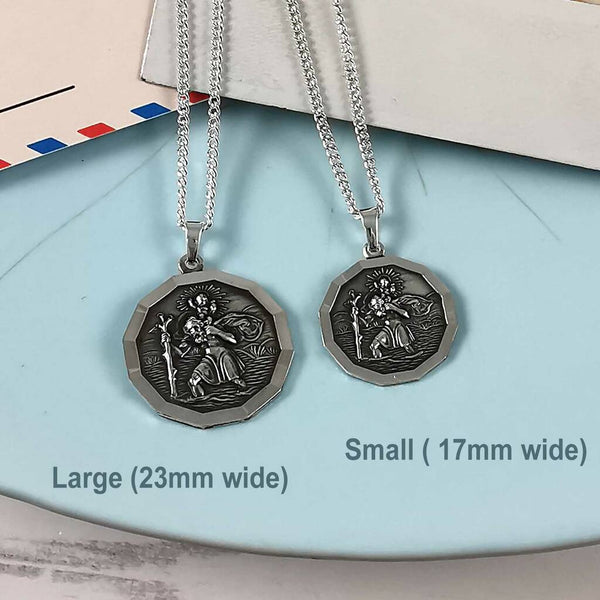 small dodecagon 12 sided st christopher pendant for men women travel gift for him