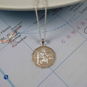 St Christopher Small Dodecagon Personalised Silver Necklace