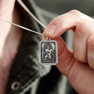 mans silver dog tag style saint christopher medal pendant solid sterling silver