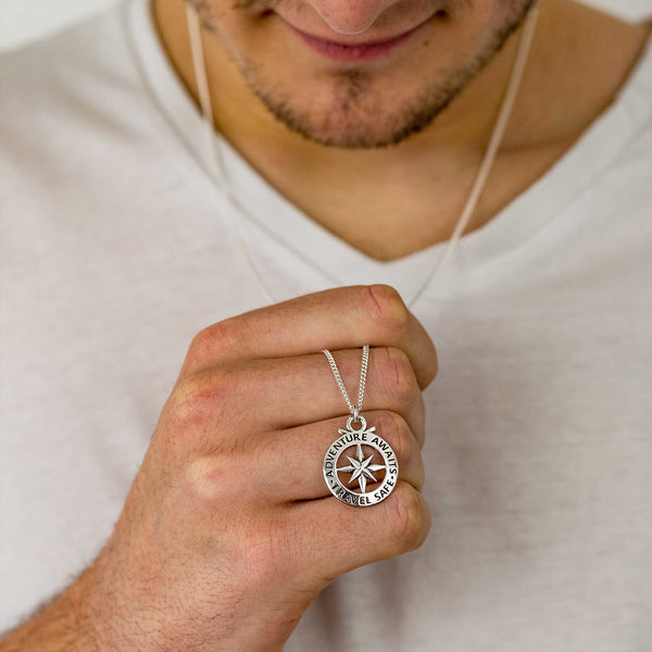 large outline compass pendant mans travel gift 18th 21st birthday silver necklace