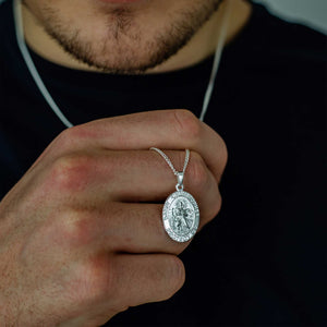 oval mans st christopher necklace pendant solid silver 21st 18th birthday gift idea