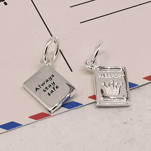 personalised stay safe passport silver charm off the map travel gift ideas
