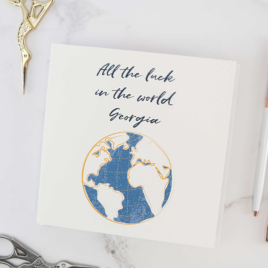 Personalised good luck on your travels gift card off the map jewellery brighton uk