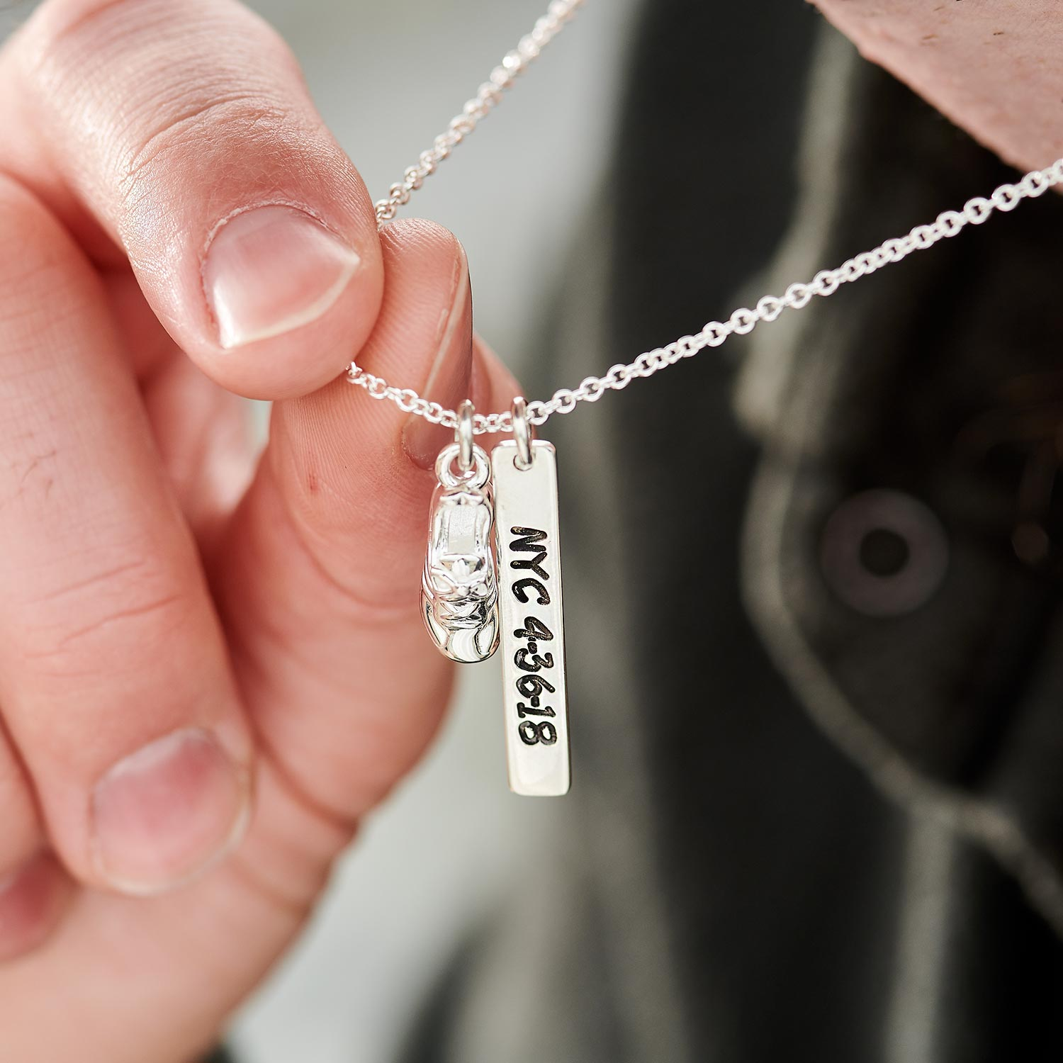 f0ac672704020 Marathon Runner Personalised Silver Necklace