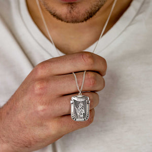 latin protectus stay safe saint christopher pendant necklace silver for men bespoke engraved