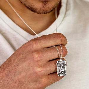 latin protectus stay safe saint christopher pendant necklace dog tag silver for men bespoke engraved