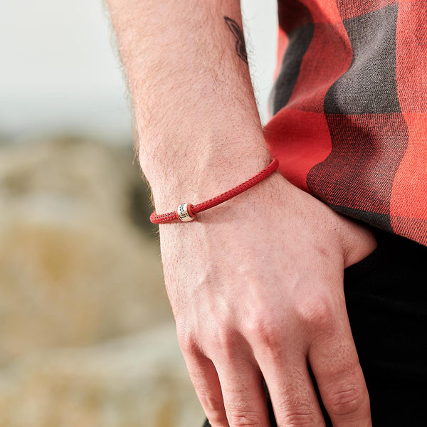 Travel Safe Silver Mens Leather Bracelet - alternative travel gift from Off The map Brighton