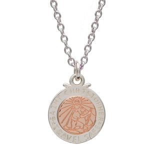 Off The Map St Christopher Silver and Solid Rose Gold Necklace