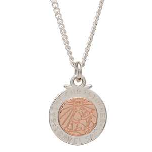 Off The Map St Christopher Silver & Solid Rose Gold Necklace Travel Good Luck Gift For Women
