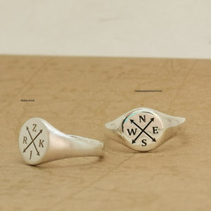 mans signet ring personalized initials crossed arrows sterling silver gift for boyfriend compass nesw