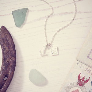 Silver Anchor and Passport Personalized Engraved Necklace For Travellers Sailors from Off The Map Jewellery Brighton