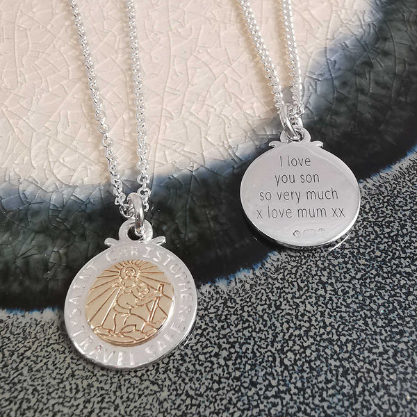 silver rose gold saint christopher custom bespoke engraved