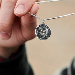 St Christopher Mosaic Border Silver Necklace - Mens & Ladies Silver Saint Christopher Pendant
