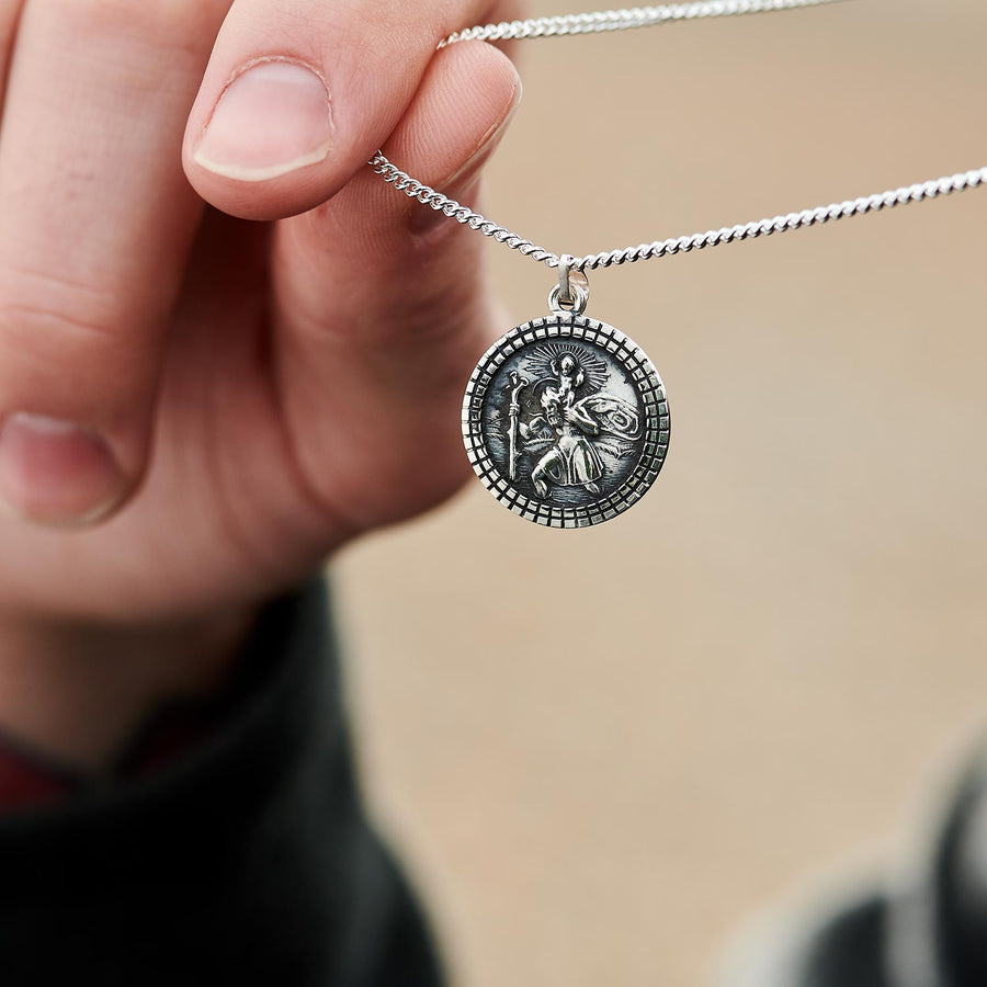St Christopher Mosaic Border Silver Necklace - Man's solid silver St Christopher pendant