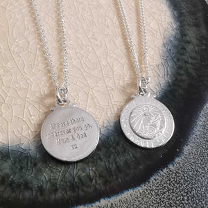 silver saint christopher engraved custom bespoke