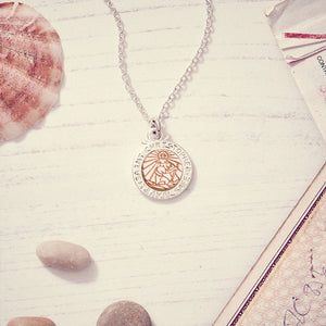Off The Map St Christopher Silver & Solid Rose Gold Necklace - personalized travel safe Saint Christopher