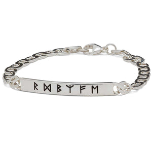 Lucky Travel Rune Silver ID Bracelet handmade in solid silver for men and women - designer travel gift from Off The Map Jewellery Brighton