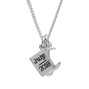 Anchor & Passport Personalised Silver Travel Engraved Year Womens Necklace