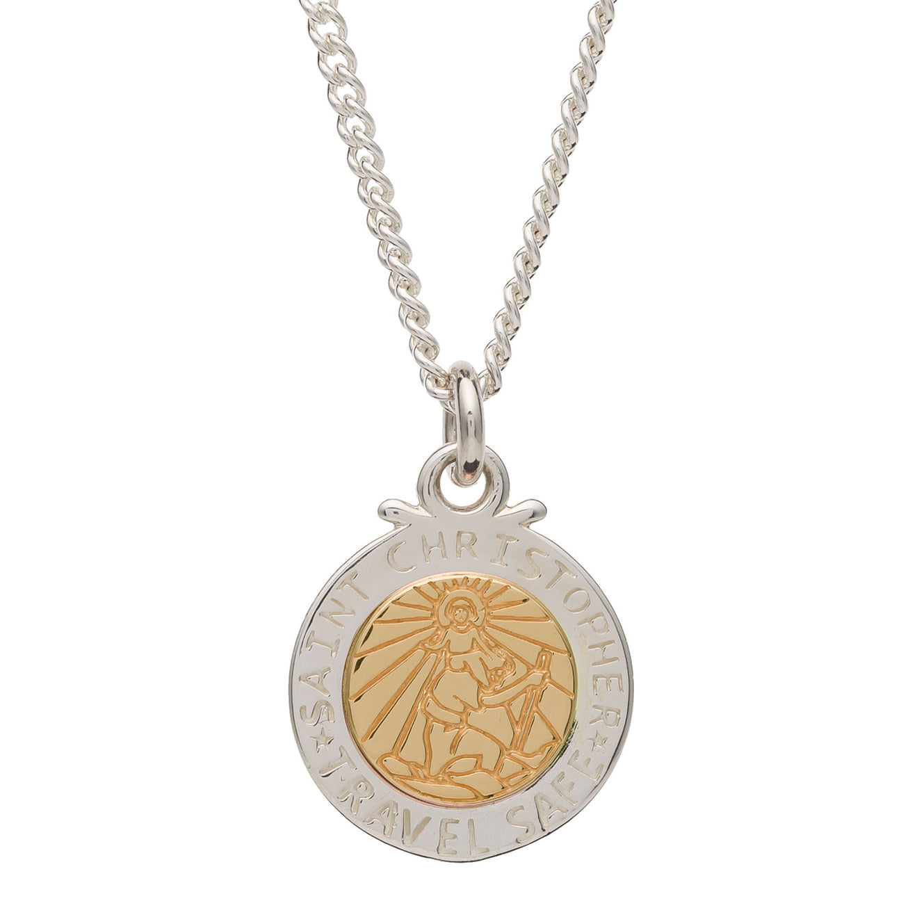 Silver & Solid Gold Off The Map St Christopher Necklace