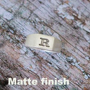 mens signet ring bespoke engraved with an initial mans signet ring sterling silver custom