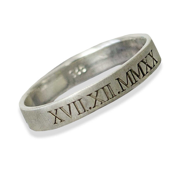 mens roman numerals bespoke custom date ring sterling silver