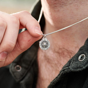 Men's small compass necklace alternative to a St Christopher engraved travel safe adventure awaits from Off The Map Jewellery
