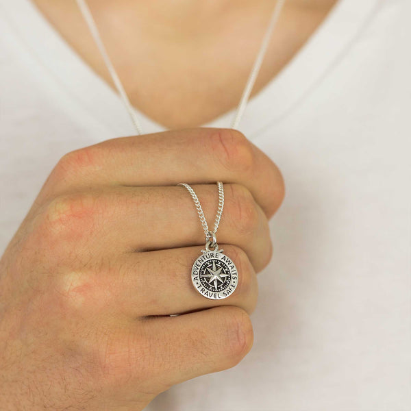 mens small compass necklace travel safe adventure awaits alternative saint christopher birthday gift