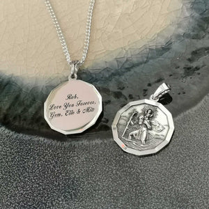 engraved back of silver saint christopher necklace 12 sided dodecagon