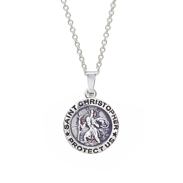 Small Saint Christopher Personalised Silver Necklace
