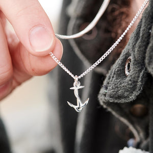 Anchor small silver pendant nautical jewellery for men and women