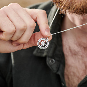 Small mens compass unique saint christopher necklace travel gift off the map