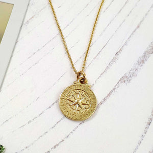 Solid gold women's st compass necklace, alternative to a St Christopher. Travel Safe Off The Map Jewellery