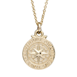 Solid gold women's compass necklace, alternative to a St Christopher. Travel Safe Off The Map Jewellery