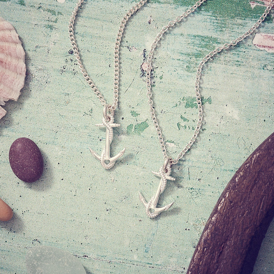Anchor Solid Silver Sailing Necklace Travel Gift from Off The Map Brighton