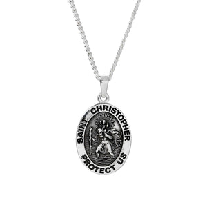Saint Christopher Protect Us Personalised Silver Necklace