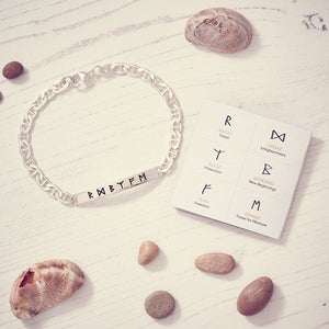 Lucky Travel Rune Silver ID Bracelet handmade in solid silver for men and women - designer travel gift from Off The Map Brighton