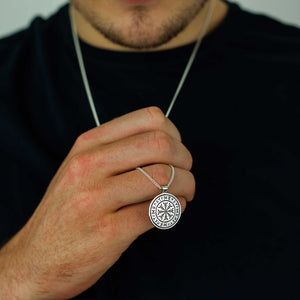 viking rune mens silver necklace mandala style norse pendant travel runes