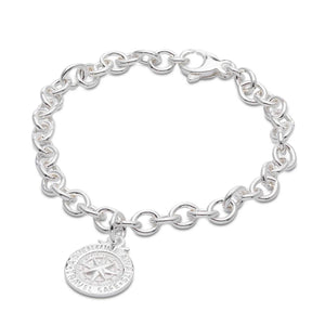 personalised travel safe alternative saint christopher silver charm bracelet