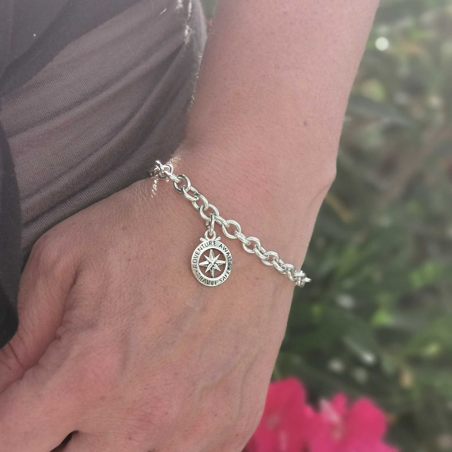 silver compass charm travel gift idea for her off the map jewellery