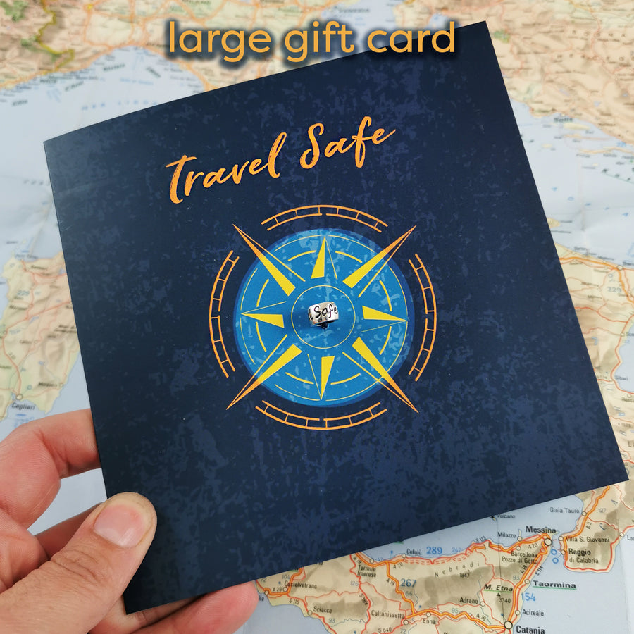 travel safe gift card for someone going travelling with silver charm that fits pandora bracelets