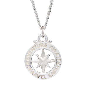 Travel Safe Outline Compass Large St Christopher Silver Necklace