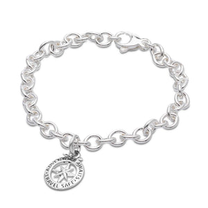 silver compass charm bracelet travel gift idea for her off the map jewellery