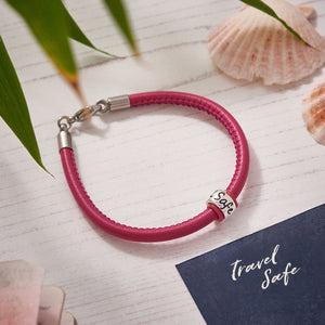 Travel Safe Silver & Italian Stitched Leather Bracelet Red - alternative travel gift from Off The map Brighton