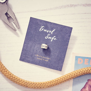 Travel Safe engraved silver bead for necklaces or bead charm bracelets - good luck on your travels gift from Off The Map Jewellery Brighton