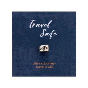 Travel Safe engraved silver bead for necklaces or bead charm bracelets - good luck on your travels gift from Off The Map Jwellery Brighton