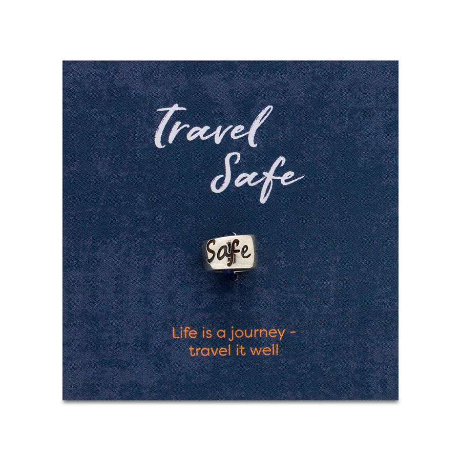 Travel Safe engraved silver bead for necklaces or bead charm bracelets - good luck on your travels gift from Off The Map Brighton