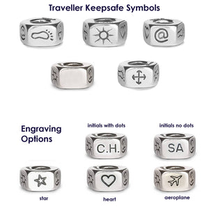 Traveller silver sliding knot bracelet - symbols and engraving options